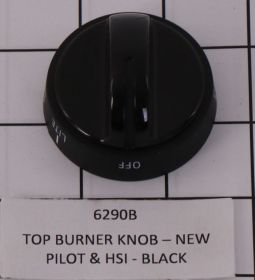 6290B TOP BURNER KNOB - NEW PILOT & HSI - BLACK
